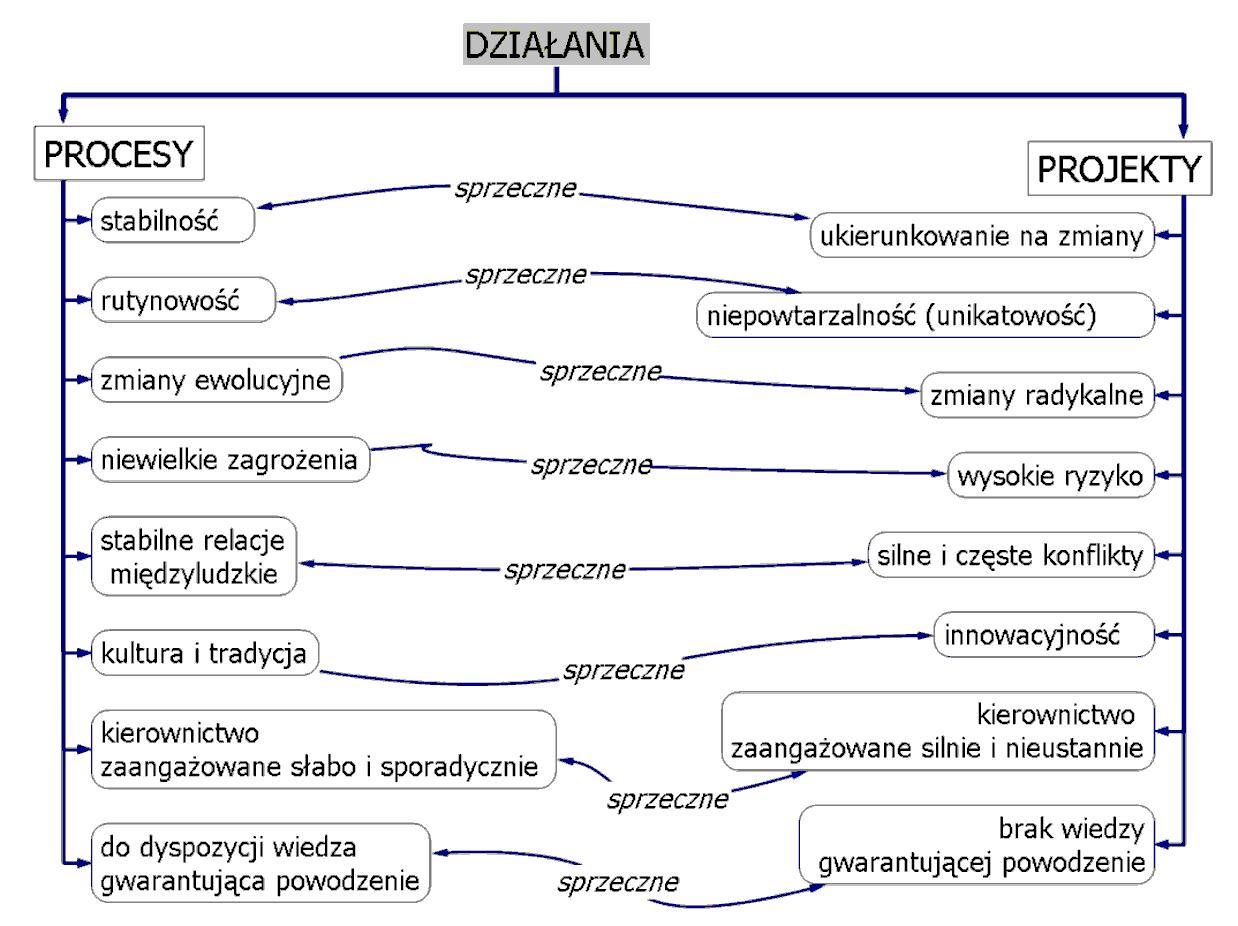 Rysunek 4. Porównanie cech procesów z cechami projektów.