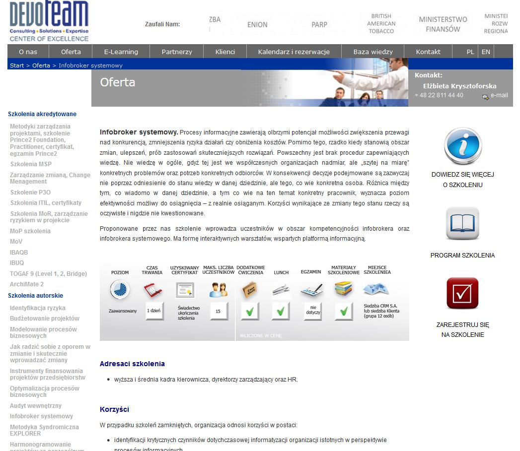 Szkolenia DEVOTEAM- infobrokerstwo systemowe